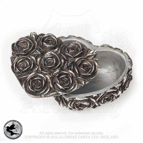ALCHEMY GOTHIC Antique Silver Rose Heart Trinket Box